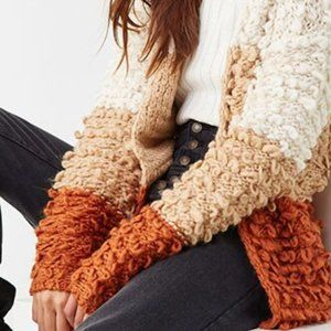 Thick Color Block Sweater - Shaggy